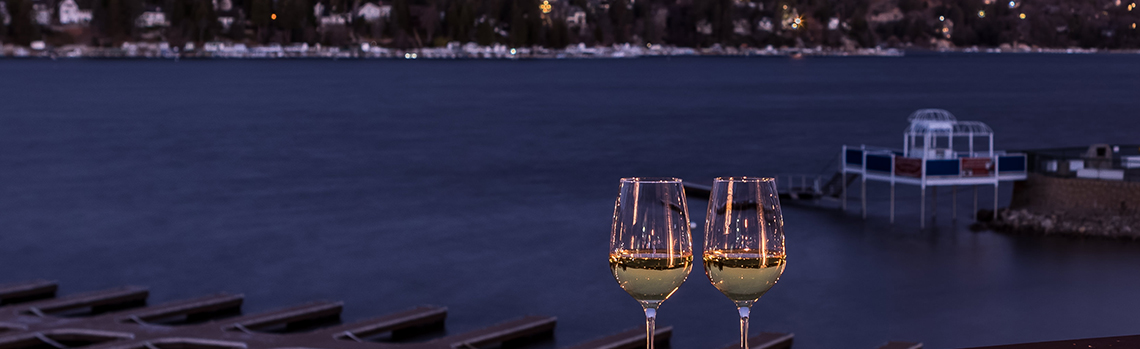Wine glasses on the dock